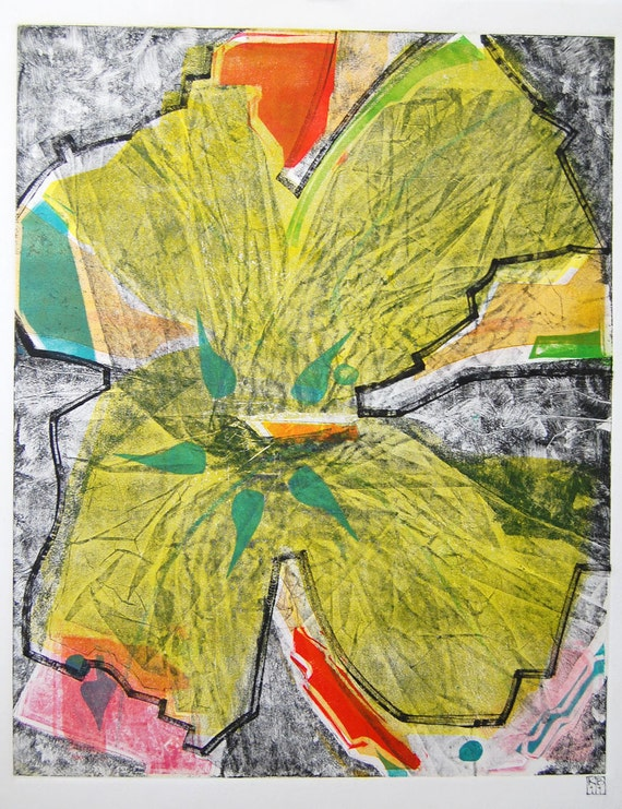 RESERVED FOR LAURA Fine Art Abstract Monoprint : BrokenFlowers(L)