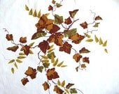 Wilendur Ivy in Autumn Colors -  Vintage Tablecloth Pillow Fabric