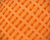 Morgan Jones Orange Buttonhole Vintage Cotton Chenille Bedspread Fabric 18 x 25 Inches