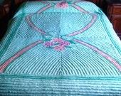 Carter Bros RetRac Floral Green Vintage Cotton Chenille Bedspread