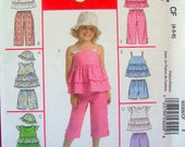 McCall's Size 4-5-6 Girl's Tiered Ruffled Top, Capri, Pant, Short, Hat -