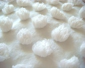 """Snowball Hard To Find 1"""" White Pops Vintage Chenille Bedspread Fabric 12x24 Inches"""
