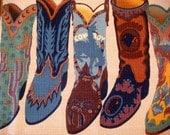 Cowboy Boots Barkcloth 54x13