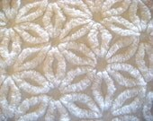 Snowy White Hofmann Daisy Vintage Chenille Bedspread Fabric 12 x 24 Inches