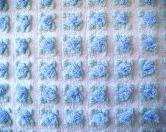 Morgan Jones Blue Rosebud on White Vintage Cotton Chenille Bedspread Fabric 12 x 24 Inches