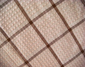 Morgan Jones Brown Plaid Pops Vintage Chenille 12 x 24 Inches