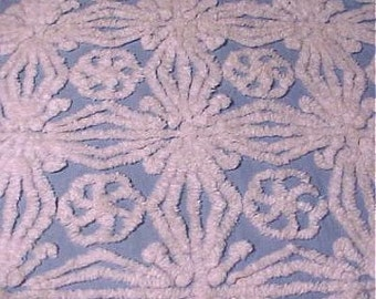 Hofmann Blue and White Snowflake Vintage Cotton Chenille Bedspread Fabric 12 x 24 Inches