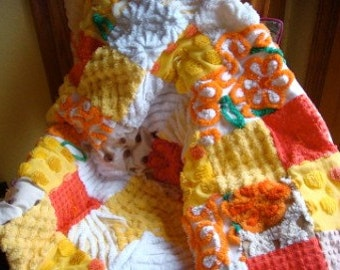 AUTUMN CUDDLE ~ a Made-to-Order Vintage Cotton Chenille Patchwork Quilt