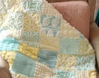 CUSTOM BABY QUILT Sample ~ Soft Sweet Sunbeam Vintage Chenille Handmade Quilt - Price Varies by Size and Materials