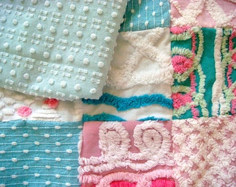CUSTOM LOVEY SAMPLE - Cuppy Cake Aqua and Pink Vintage Cotton Chenille Patchwork Quilt