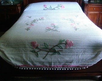 Cabin Crafts Pink Floral Needletuft Vintage Cotton Chenille Bedspread