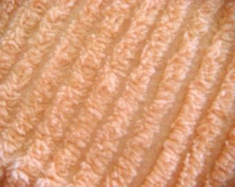 Plush Peach Vintage Chenille Bedspread Fabric 19 x 24 Inches