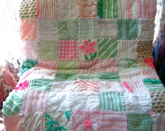 IN THE MEADOW ~ a Made-to-Order Vintage Cotton Chenille Patchwork Quilt