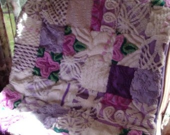 GIVERNY GARDENS ~ a Made-to-Order Vintage Cotton Chenille Patchwork  Quilt