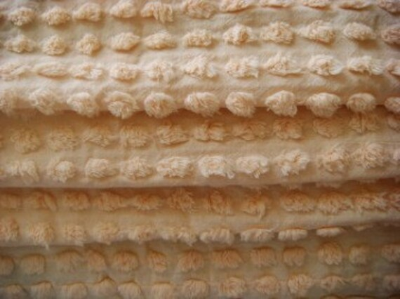 Buttery Yellow Fluffy Pops Vintage Chenille Fabric 24x12