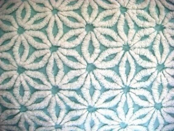 Aquamarine Hofmann Daisy Vintage Chenille Fabric