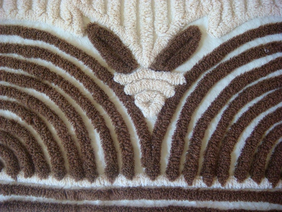 RESERVED for Nancy - Art Deco Dark Chocolate and Almond Plush Vintage Chenille Fabric