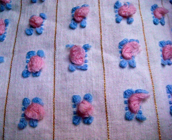 Pink and Blue Rosebud  Vintage Chenille