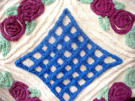 Royal Blue and Huckleberry Floral Plush Vintage Chenille Bedspread Fabric 32x18