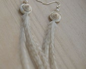 Shell, Pearl and Feather Earrings - On French Wires