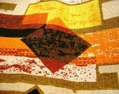 Mid Century Modern Bark Cloth Earth Tone Fabric Geometic Design Draperies Pillows at A Vintage Revolution