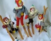 Vintage Skiing Dolls  Set of Four Made in Japan  POSE DOLLS