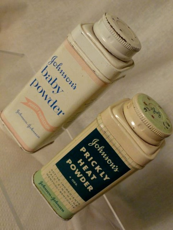 Vintage Tins of Johnsons Baby Powder AND Johnsons Prickly Heat Powder