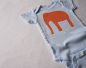 Baby Boy Or Girl Bodysuit, Circus Elephant, Embellished, Hand Dyed And Printed, Orange On Pale Blue, Infant
