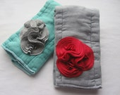 Baby Burpie Set, Burpcloth, Embellished, Hand Dyed Cloth Diaper, Knit Fabric Cluster, Grey, Red, Teal, Boy Or Girl