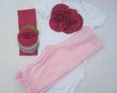 Little Bundle Set, Baby Girl Onesie, Pants And Headband Gift Set,  Pink Flower Cluster, Embellished, 3 Month
