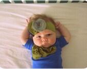 Baby Girl Bodysuit And Headband Set, Moss Green Cluster On Royal Blue,  Onesie, Newborn, Infant