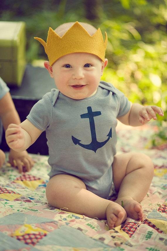 Baby Boy Onesie, Navy Blue Nautical Anchor, Hand Dyed Slate Grey, Short Sleeve, Newborn To 24 Month