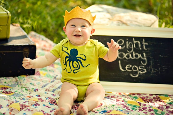 Baby Boy Bodysuit, Navy Blue Octopus On Hand Dyed Chartreuse, Nautical, Short Sleeve, Newborn To Toddler