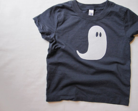 Halloween Toddler T-Shirt, Spooky Appliqued Cotton Ghost, Navy Blue Tee, Boy Or Girl