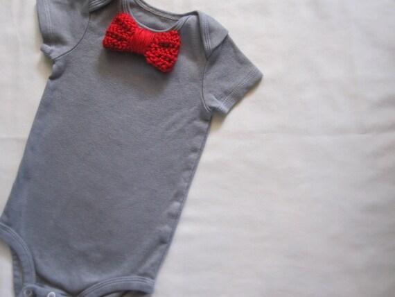 Baby Boy Bodysuit, Red Bow Tie, Tuxedo, Hand Dyed Grey, Newborn, Infant