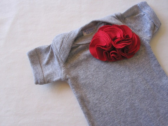 Baby Girl Bodysuit, Red Buds On Heather Grey, Onesie, Embellished, Infant