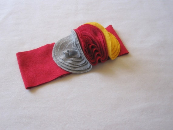 Baby Girl Headband, Red Band, Grey Red And Yellow Buds, Photography Prop