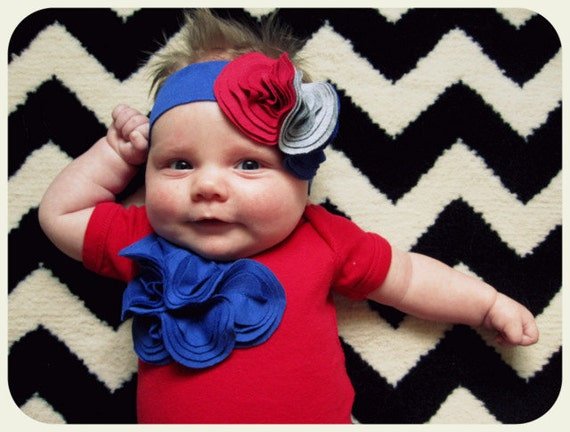 4th July, Baby Girl Bodysuit Headband Set, Red Onesie, Royal Blue Flower Cluster, Newborn To 12 Month, Festive