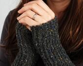 Grey Tweed Wristerwarmers