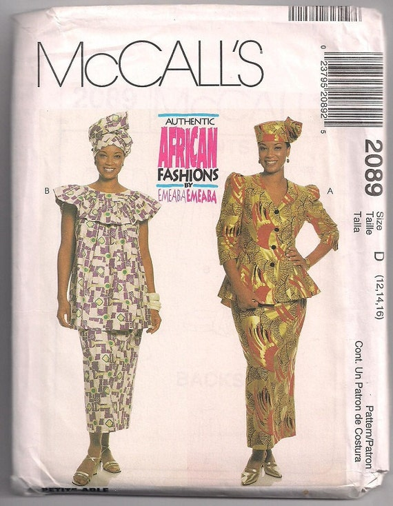 Authentic African Fashions two piece dresses, hat and headwrap pattern by Emeaba McCalls 2089 Sz 12-16