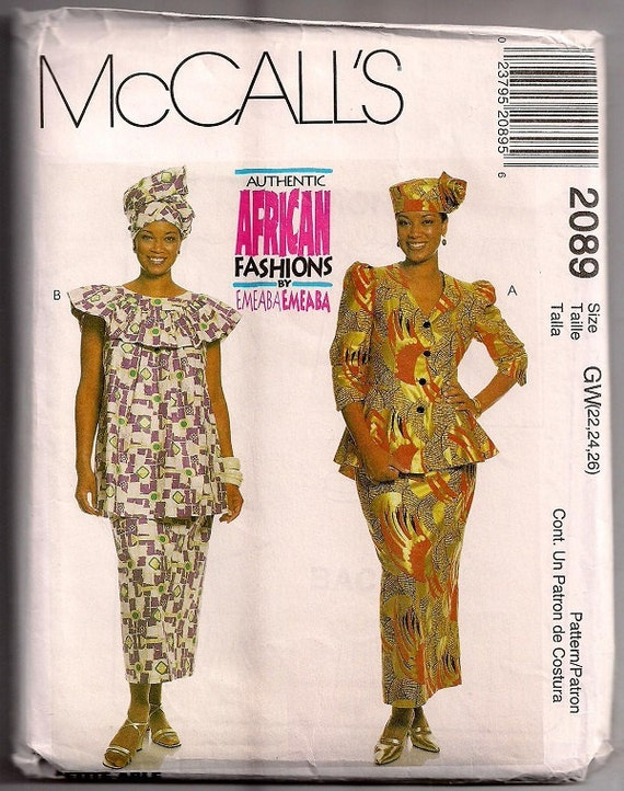 Mccalls 2089 Authentic African Fashions By Emeaba Two Piece