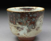 Small Red Curtain Shino glazed Yunomi Tea Cup with Wood Ash and Copper