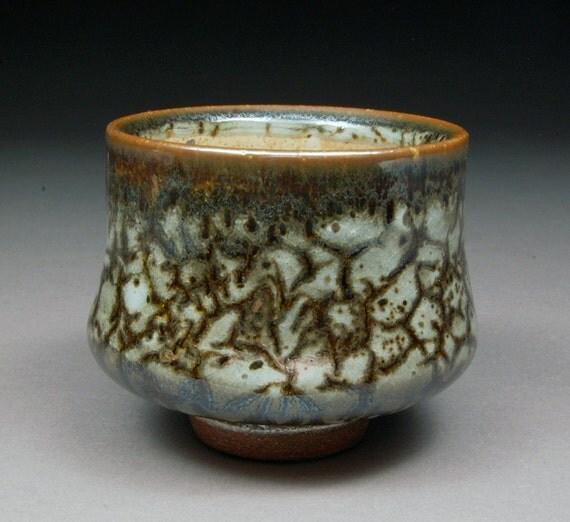 Carbon Trap Shino and Slip Glazed Yunomi Tea Cup