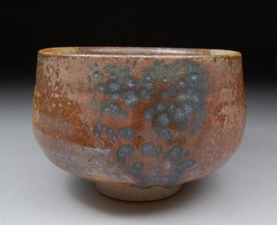 Matcha Chawan Teabowl Tea Ceremony Glazed with Shino, Wood Ash and Copper...Unique