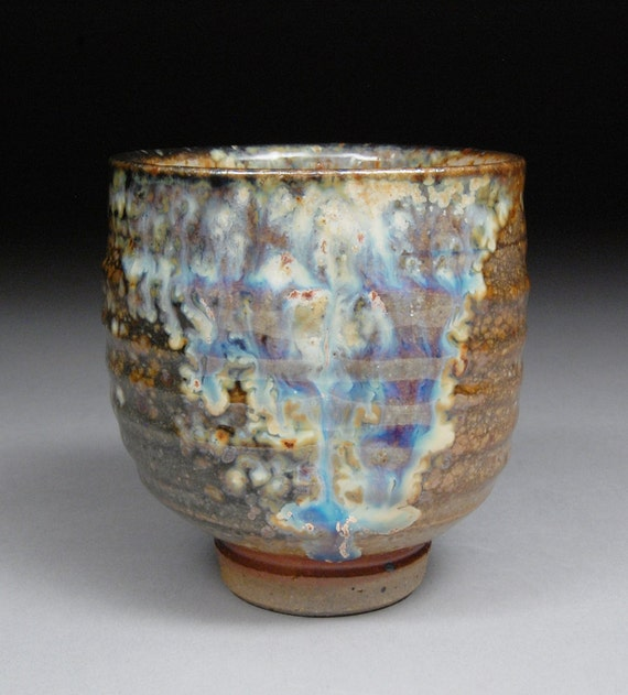 Stopped Just in Time 3 Rainbow Curtains Yunomi Tea Cup with Carbon Trap Shino, Wood Ash and Rutile with extraordinary one-of-a-kind effects