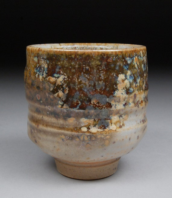 Larger Yunomi Tea Cup Glazed with Shino, Wood Ash, Copper and Rutile
