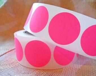 """25 Neon Pink Sticker Dots - 1.5"""" round stickers"""