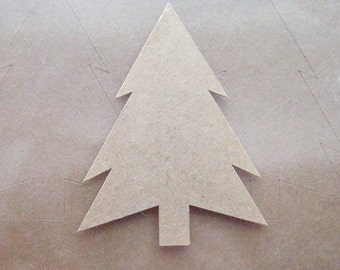 32 Large Kraft Paper Christmas Tree Stickers - sticker tags, labels, name tags