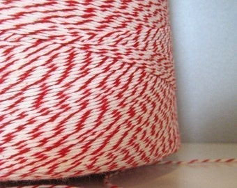 Bakers Twine - Peppermint Stick - Red and White - 100 Yards