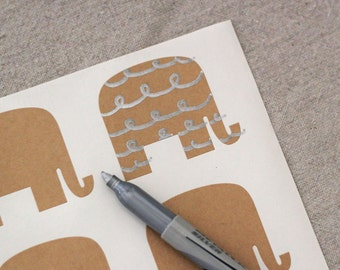 36 Kraft Paper Mr. Elephant Stickers - Peel and Stick Tags, labels, name tags